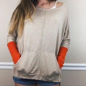 Vertical design pocket crewneck sweater